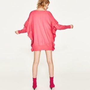 NWT Zara Bright Pink Flounce Ruffle Sleeve Sweater